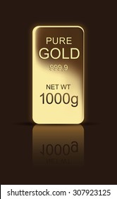 Shining Gold bar with reflection and shadow on dark-brown background. Bank treasure.