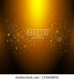 Shining gold shimmer luxury. Golden glitter confetti falling on black vector background. Sparkle stardust. Vector illustration
