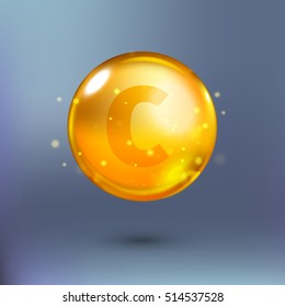 Shining golden essence circle droplet. Vector illustration