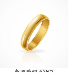 Shining Golden Ring. Symbolic Jewelry. Vector illustration