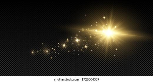 Shining golden stars isolated on black background. Effects, glare, lines, glitter, explosion, golden light. Vector illustration.Set.