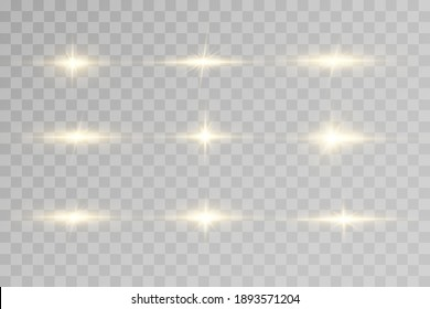 Shining golden stars isolated on black background. Effects, glare, lines, glitter, explosion, golden light. Vector illustration