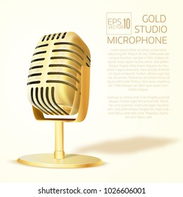 Shining  golden  studio microphone. Realistic  vector illustration. Poster or cover template.