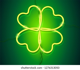 Shining green neon lamp vector clover, St. Patrick's Day symbol