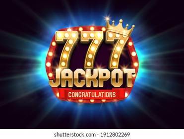 Shining Jackpot sign with lucky sevens and a golden crown. Vector illustration.