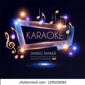 Shining Karaoke Party Banner with Golden Notes. Vector illustration