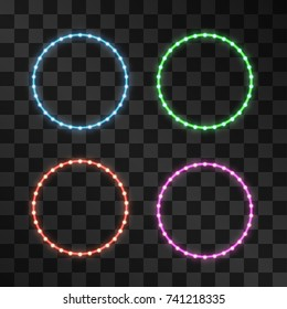 Shining led vector circle frames, neon illumination on transparent background, set of pink, red, green, blue glowing decorative ring tapes of diode ecological lamps light effect for banners, web-sites