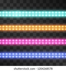 Shining led vector stripes, neon illumination on transparent background, set of pink, orange, pink, blue glowing decorative double tapes of diode ecological lamps light effect for banners, web-sites.