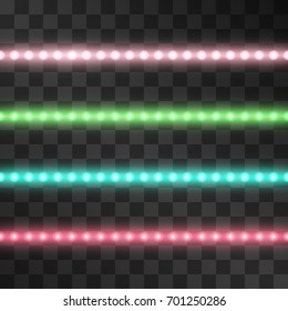 Shining led vector stripes, neon illumination on transparent background, set of pink, red, green, turquoise glowing decorative tapes of diode ecological lamps light effect for banners, web-sites.