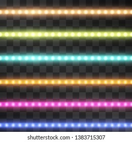 Shining led vector stripes set, neon illumination on transparent background, set of pink, yellow, purple, blue glowing decorative tapes of diode ecological lamps light effect for banners, web-sites.