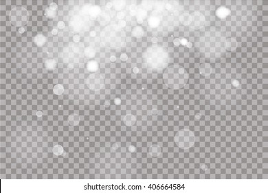 Shining light, stars, particles, energy in transparent background