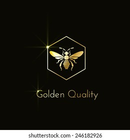 Shining logo with a bee in a hexagon. Vector illustration.