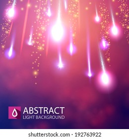 Shining meteorites on colorful background. Vector illustration