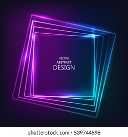 The shining neon banner. Multi-colored bright framework. Design element. Abstract background. Vector illustration.