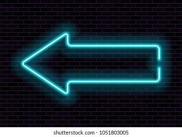 Shining neon frame on brick wall. Blue neon sign in the shape of a arrow. Vector illustration.