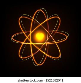 Shining neon lights atom graphic vector