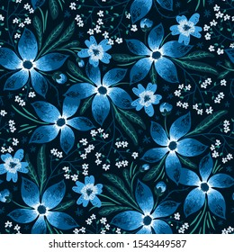 shining night  flowers. hand painting imitation in vector. vector floral seamless pattern with bright blue fantasy flowers on a dark background