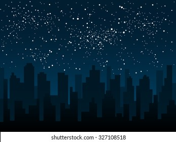Shining night stars sky under city. Black silhouette buildings, skyscraper, houses. Urban town cityscape in the starry dark blue. Space background, banner, backdrop vector illustration.