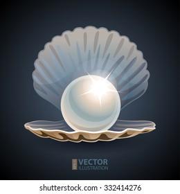 Shining pearl in opened seashell on dark blue background. RGB EPS 10 vector illustration
