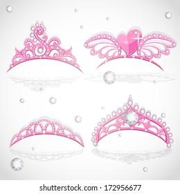 Shining pink girls tiaras with diamonds on the hoop set