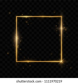 Shining rectangle banner. Isolated on black transparent background.Golden frame with lights effects,Shining luxury banner vector illustration.