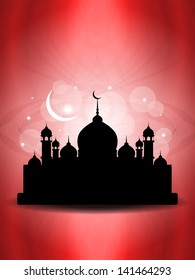 shining red color religious eid background with mosque. vector illustration