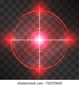 Shining red reticle, target screen, successful aim detection, symbol of business or military accuracy, technology interface, sport competition, correct decisions or information discover.