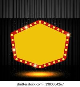 Shining retro banner on black stage curtain. Vector illustration