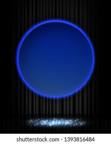 Shining retro blue round banner on black stage curtain. Vector illustration