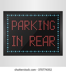 Shining retro light banner parking in rear on a black background.vector
