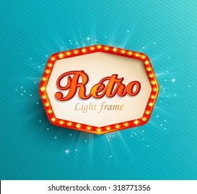 Shining retro light frame, vector illustration EPS 10