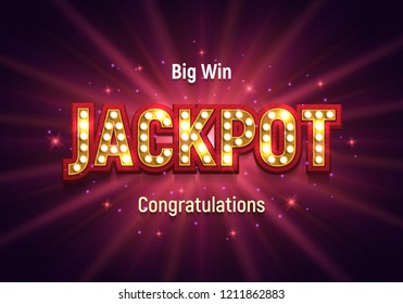 Shining retro sign Jackpot banner. Vector illustration.