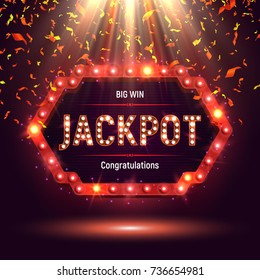 Shining retro sign Jackpot banner illuminated by spotlights with confetti. Vector illustration.