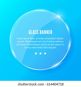 Shining round glass banner on blue background. REalistic vector circle with reflections and glow