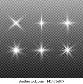 Shining set sun, bright flash or light explodes on a transparent background. Vector