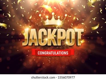 Leuchtendes Schild Jackpot mit goldener Krone und fallende Konfetti auf hellem Hintergrund. Vektorgrafik.