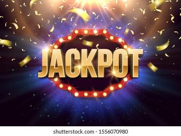 Shining-Schild Jackpot mit Retro-Plakatwand und fallende Goldkonfetti auf hellem Hintergrund. Vektorgrafik.