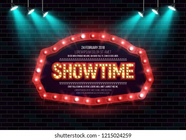 Shining sign Showtime with retro billboard on brick wall background illuminated by spotlights. Vector illustration.
