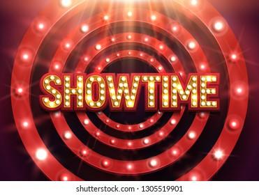 Shining sign Showtime with retro billboard illuminated by spotlights. Vector illustration.