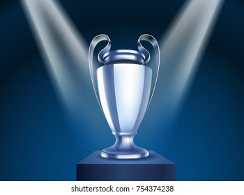 Shining Silver Cup Vector On A Stage Illustration