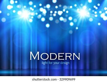 Shining Spotlights on Stage Curtain. Vector illustration