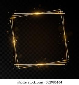 Shining square golden frame. Isolated on black transparent background. Vector illustration, eps 10.