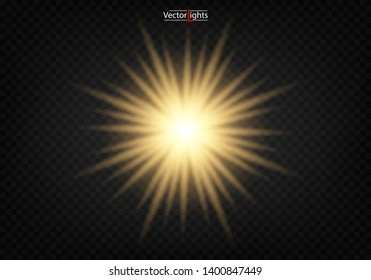 Shining star, the sun particles and sparks with a highlight effect, color bokeh lights glitter and sequins. On a dark background transparent. Vector, EPS10