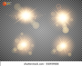 Shining star, the sun particles and sparks with a highlight effect, gold glitter bokeh lights and tinsel. On a dark background transparent. Vector, EPS10