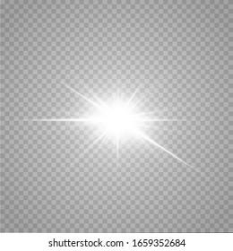 Shining stars isolated on a transparent white background.  The shining of stars, beautiful sun glare. Vector illustration.