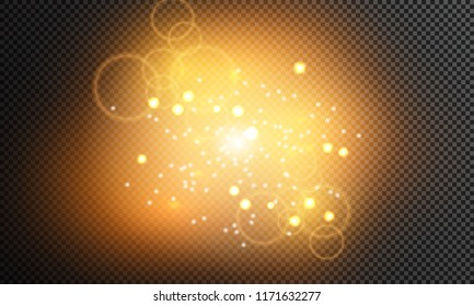 Shining stars on a transparent background, shiny and bright. Vector illustration. Light, radiance and rays. Christmas stars.