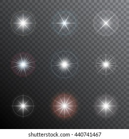 Shining stars or other bright light sources with a halo. Transparent light effects. Vector illustration