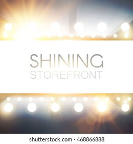 Shining Storefront. Elegant Border. Abstract Illuminated Background. Light Bulbs and Flashes. Game and Casino Design. Glamour Mirror. Vector illustration