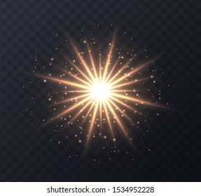Shining sun flare with stars and sparkles isolated on dark transparent background. Golden ens flare, stardust, shining star with rays concept. Glowing vector light effect.