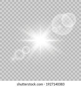 Shining sun glare rays, lens flare vector illustration. Vector transparent sunlight special lens flare light effect. Sunlight glowing png effect.